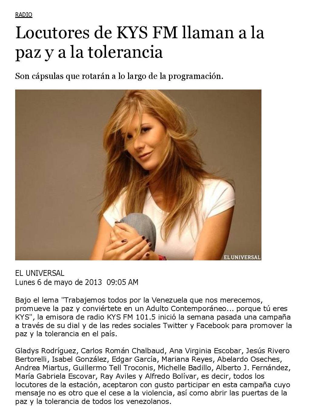 Locutores de KYS FM llaman a la paz y a la tolerancia - www.michellebadillo.com