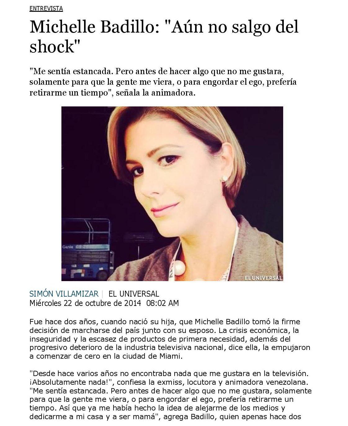 """Michelle Badillo: """"Aún no salgo del shock"""" - www.michellebadillo.com"""