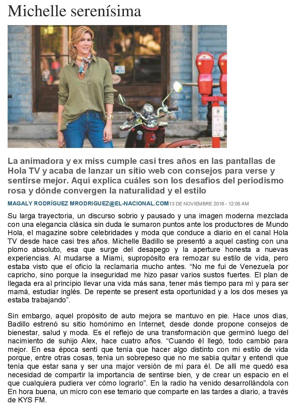 Michelle serenísima - www.michellebadillo.com